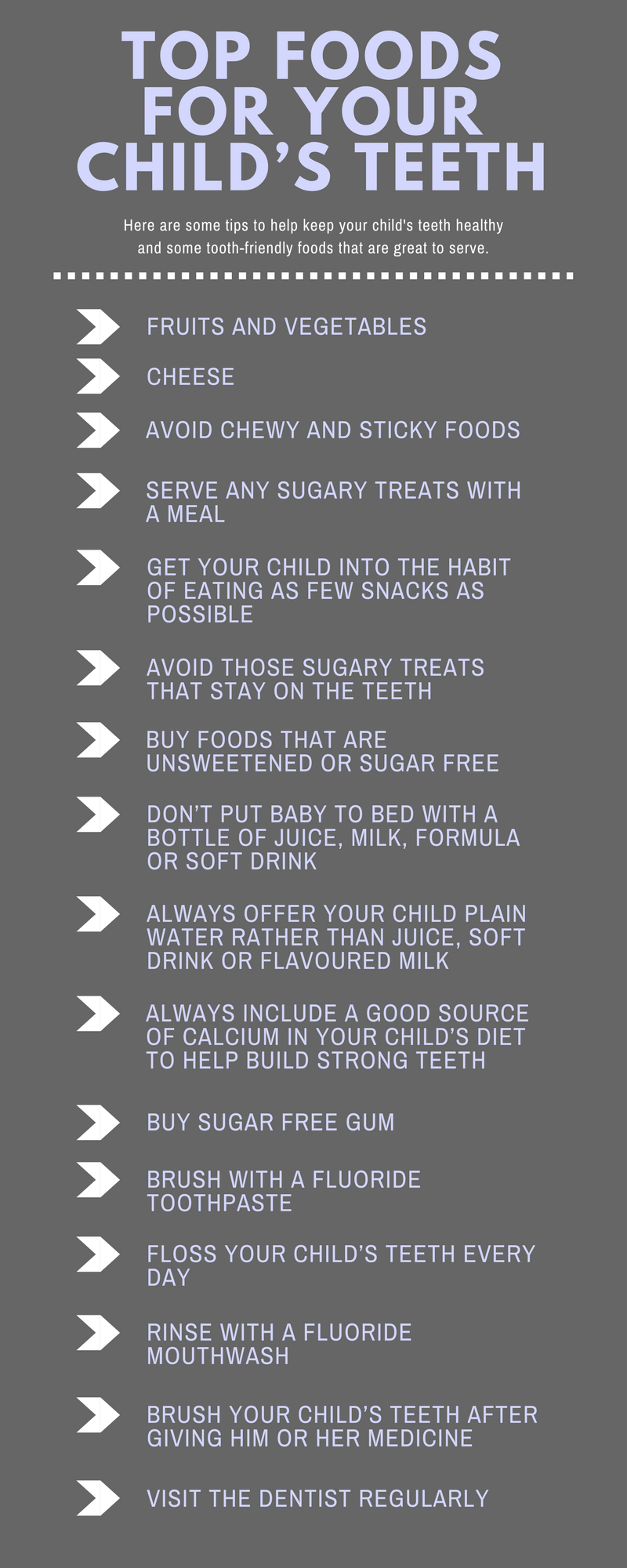 Top foods for your childs teeth
